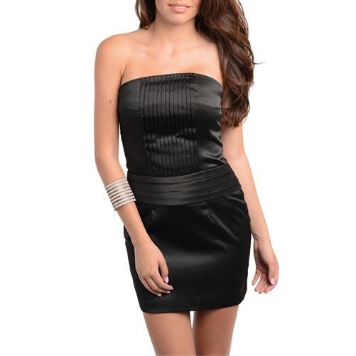 Strapless jurk glans zwart