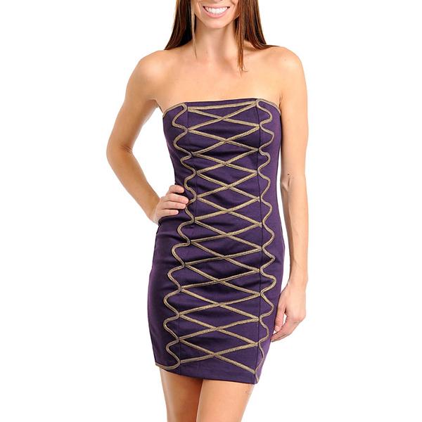 Strapless jurk Purple fashion
