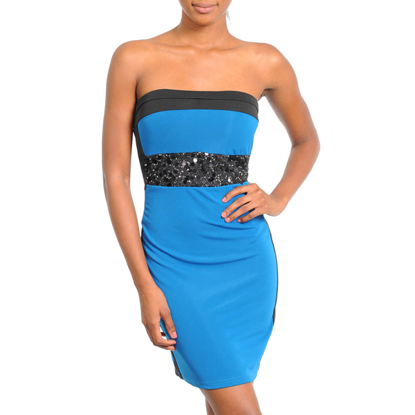 Strapless Sequin Dress Blue