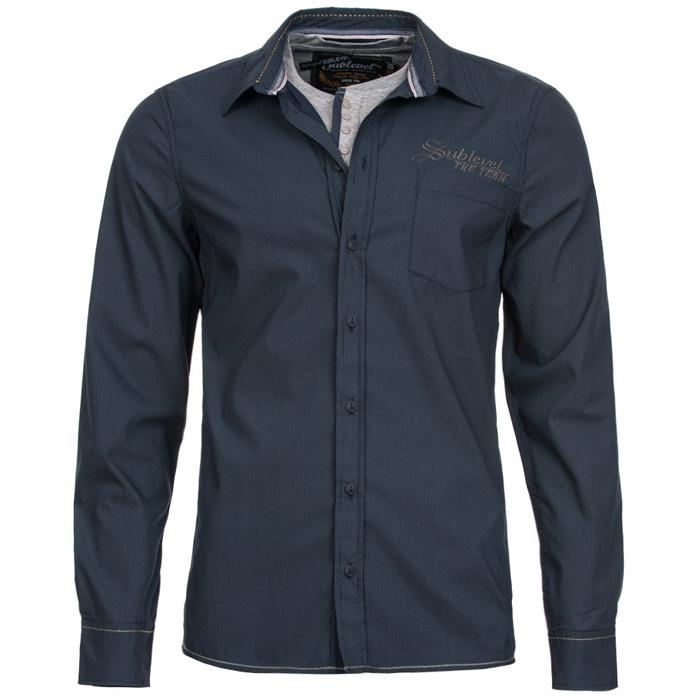 Sublevel heren overhemd 2 in 1 Donkerblauw