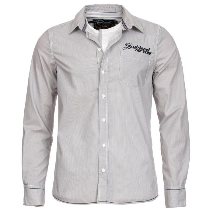 Sublevel heren overhemd 2 in 1 Wit-Grijs