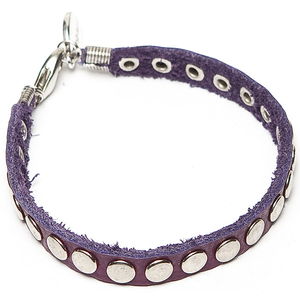 LookingGoodToday, Sugarz leren armband Studs Purple