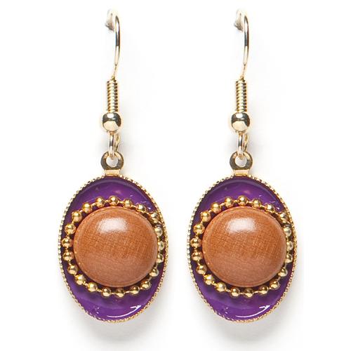 Sugarz dames oorbellen Gold Medaillon Purple thumbnail