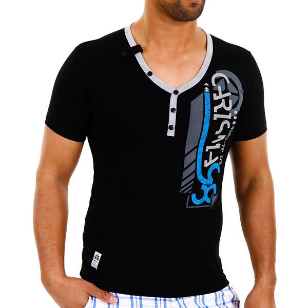 T-shirt Carisma Slim fit Print Zwart