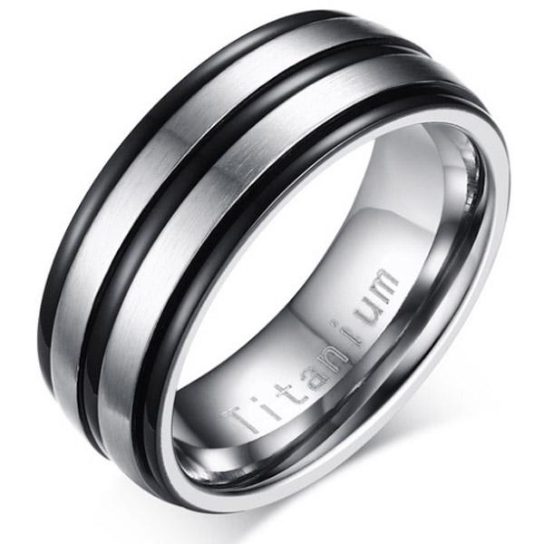 Titanium heren ring Zilver Zwart 8mm