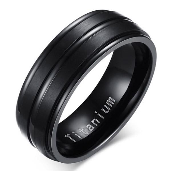 Titanium heren ring Zwart 8mm 21.5mm