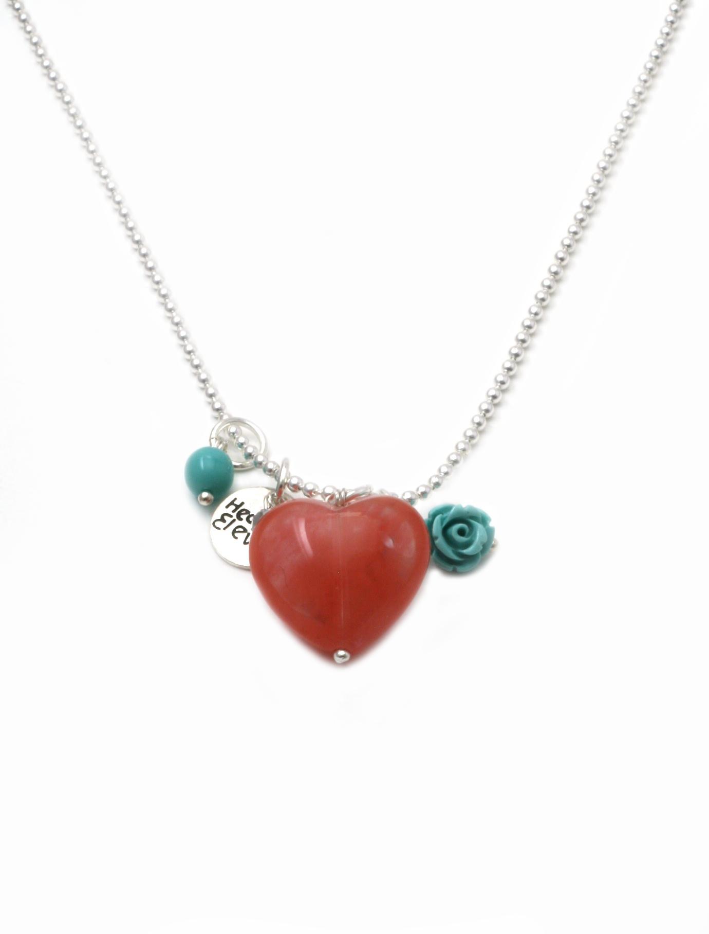 Heaven Eleven ketting rvs ballchain met een rood hart natuursteen