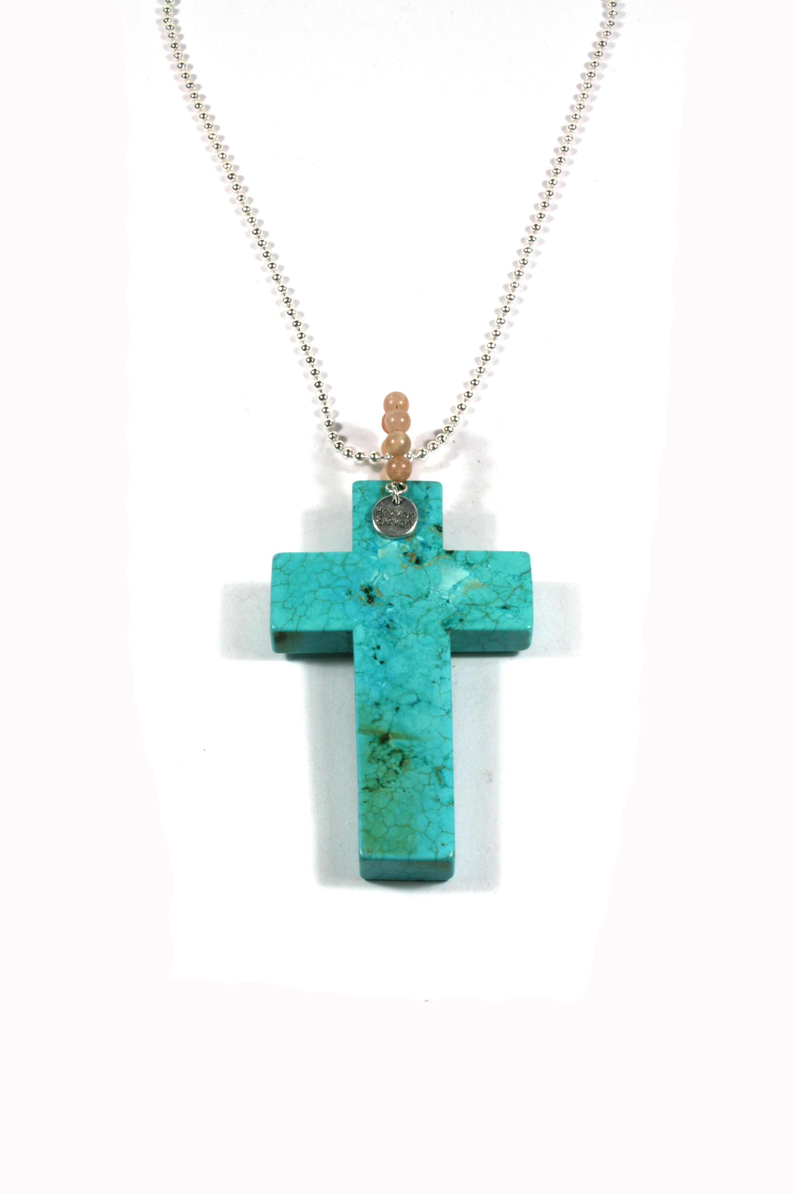 Heaven Eleven ketting rvs ballchain met turkoois stenen kruis