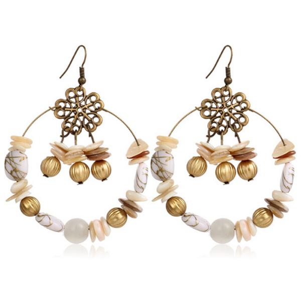 Turkse oorbellen Boho Wit met goud