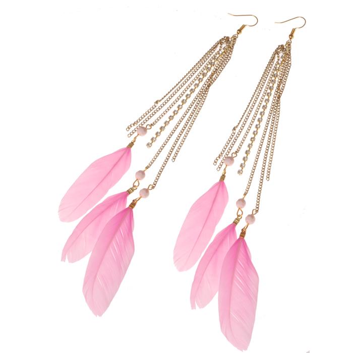LookingGoodToday, Veren oorbellen Feather Rhinestone Pink Gold