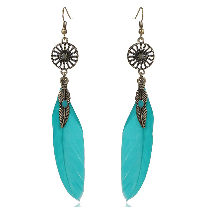 Veren oorbellen Leaf Dreamcatcher Turquoise
