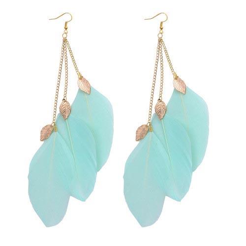 LookingGoodToday, Veren oorbellen Leaf Turquoise