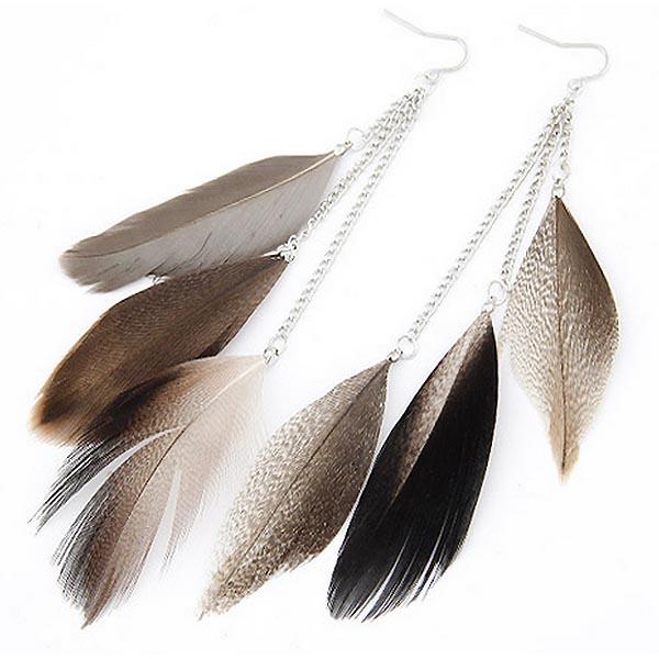 LookingGoodToday, Veren oorbellen Summer Feather Grey