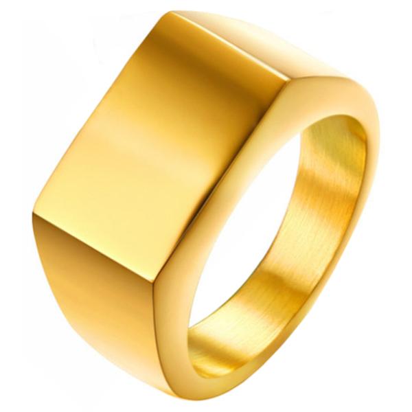 Verguld stalen zegelring van Mendes Jewelry