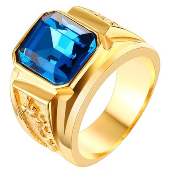 Vergulde edelstaal zegelring met blauwe edelsteen