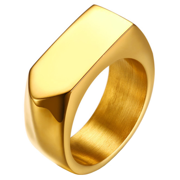 Vergulde stalen zegelring Mendes Jewelry