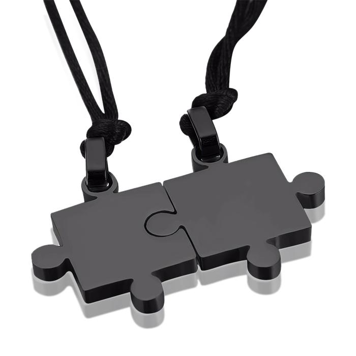 Vriendschapsketting LGT Jewels Edelstaal Puzzelstuk Zwart