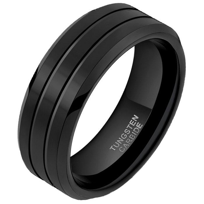Wolfraam heren ring Classic Groove 8mm 21.5mm
