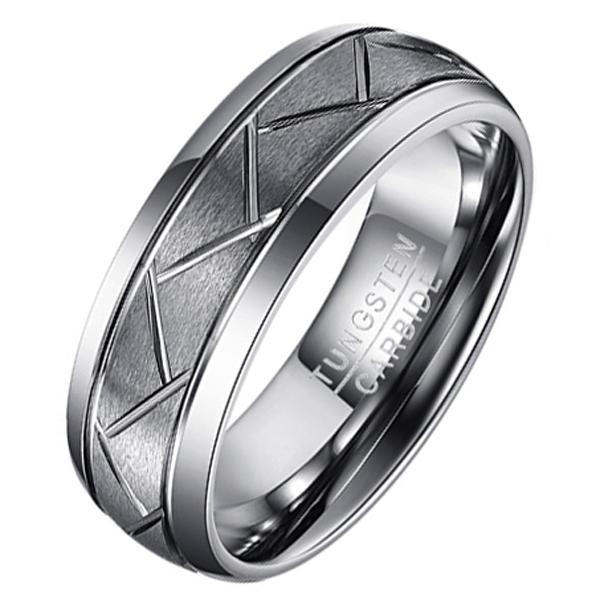 Wolfraam heren ring Diagonale Groeven-20mm
