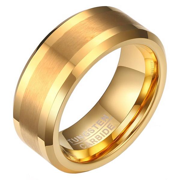 Wolfraam heren ring Goudkleurig geborstelde streep 8mm