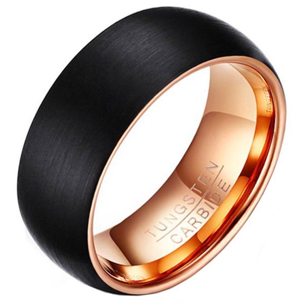 Wolfraam heren ring Zwart met rose 8mm-21mm