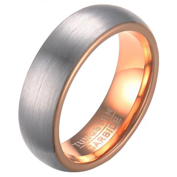 Wolfraam ring geborsteld zilver met Rosegoud 21.5mm