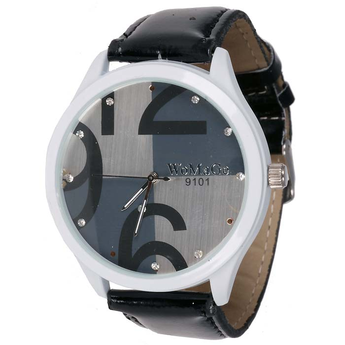 LookingGoodToday, Womage Fashion horloge Big Dial Black Silver