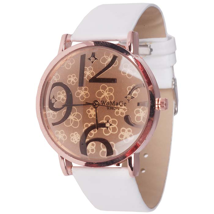 LookingGoodToday, Womage Fashion horloge Big Dial Rose Wit