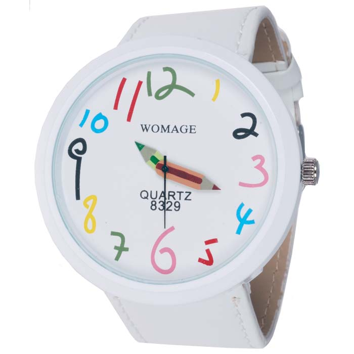 Womage Fashion horloge XL Wit