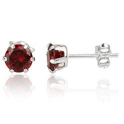 Heren oorbellen 925 zilver Red Garnet 6mm