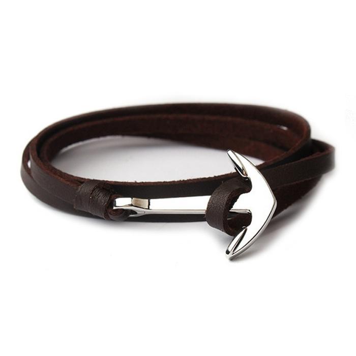 Zilverkleurige anker armband bruin leren koord