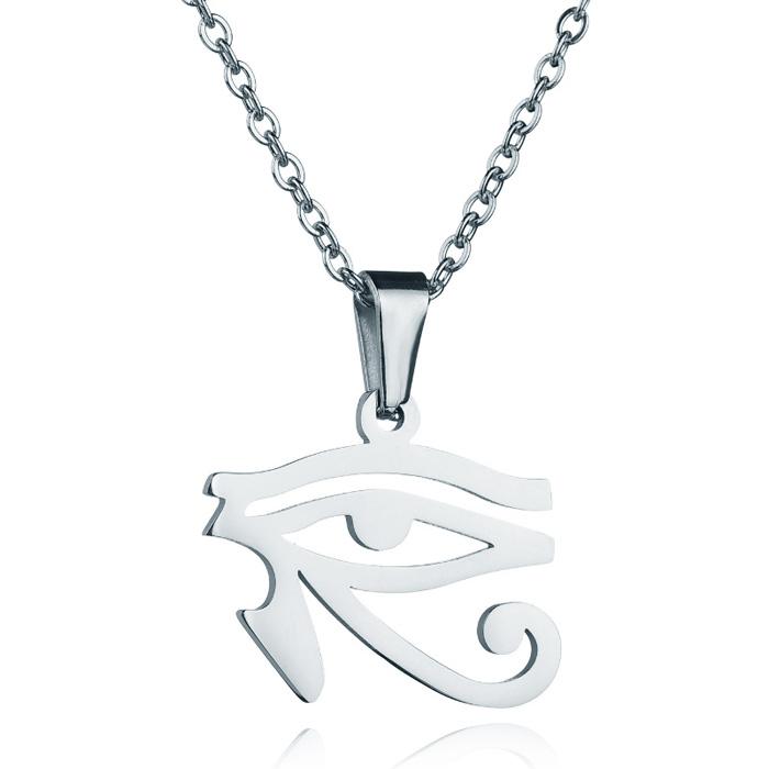 LookingGoodToday, Zilverkleurige dames ketting Edelstaal Oog van Horus