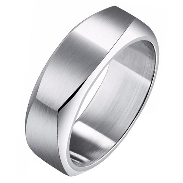 Zilverkleurige Mendes heren ring gepolijst Staal-21.5mm