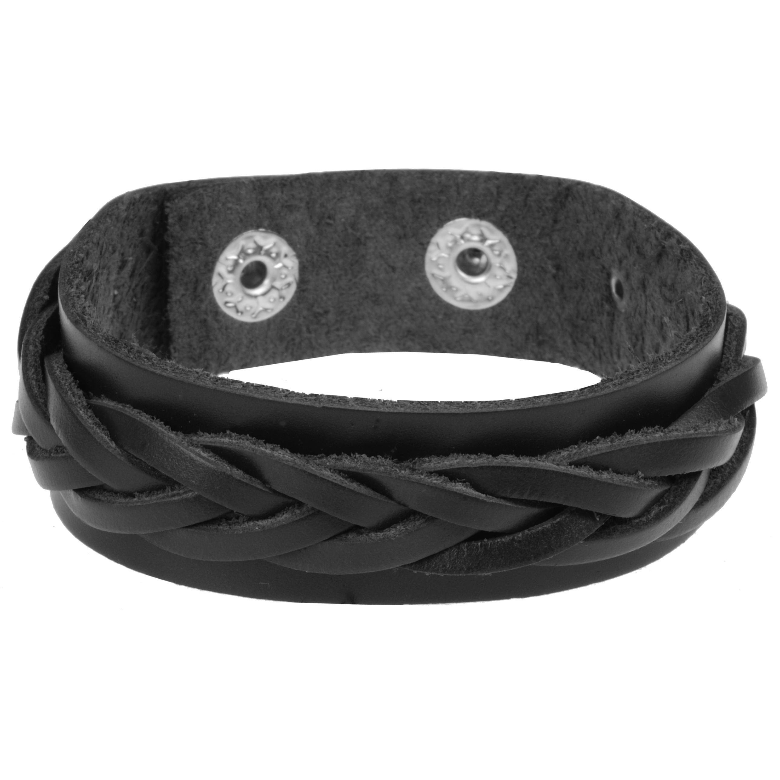 Zwarte gevlochten leren heren armband