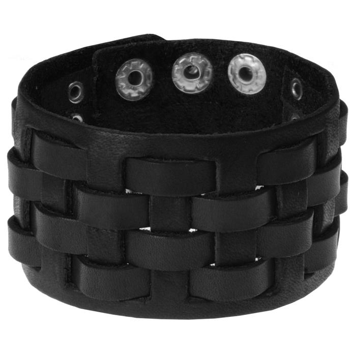 Zwarte geweven leren armband heren