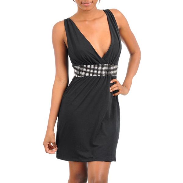 Zwarte jurk met steentjes