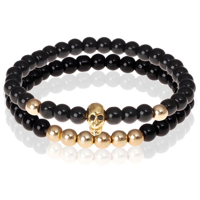Zwarte Onyx kralen armband Goudkleurige Skull