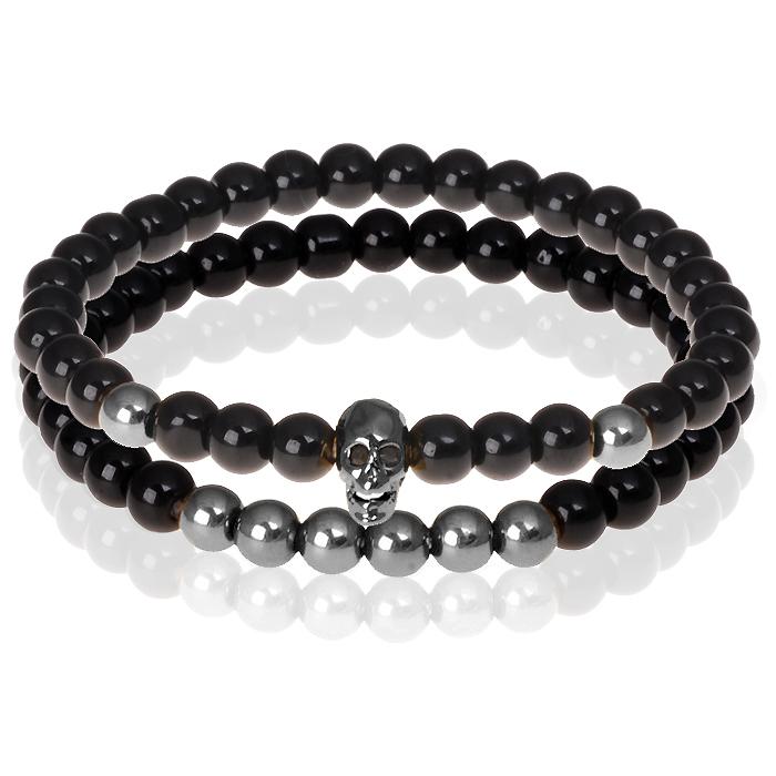 Zwarte Onyx kralen armband Grijze Skull