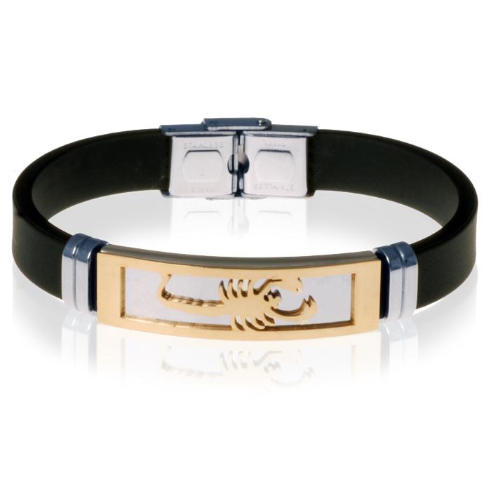 Zwarte Siliconen armband RVS Schorpioen Goud