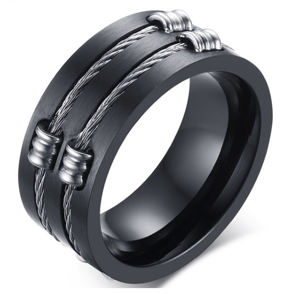 Zwarte stalen kabel ring 21.5mm