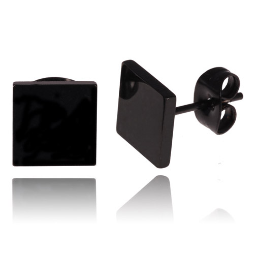 Zwarte Stud oorbellen LGT Jewels 4mm