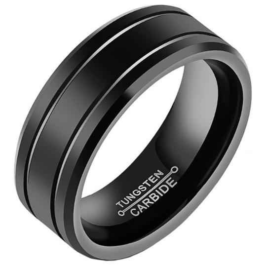 Zwarte Wolfraam heren ring 8mm 21.5mm